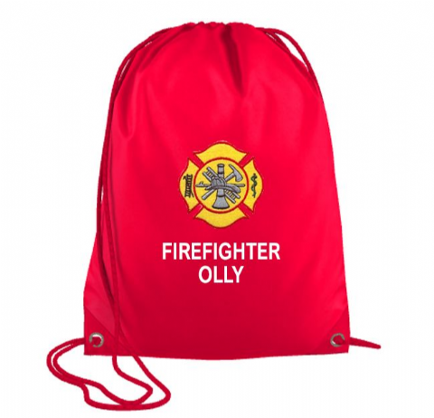 Personalised FIREFIGHTER Drawstring PE Swim Bag